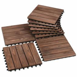 "12"" x 12"" Patio Pavers Floor Interlocking Wood Patio Tiles 1"