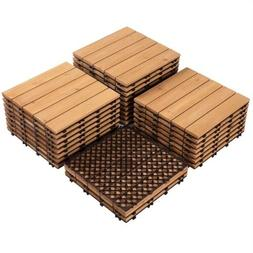 12x12'' Patio Deck Tiles Interlocking Wood Flooring Pave