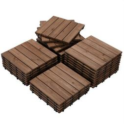12x12'' Patio Pavers Tiles Interlocking Wood Flooring De
