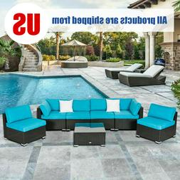 2-7PC Outdoor Patio Sectional Furniture PE Wicker Rattan Sof