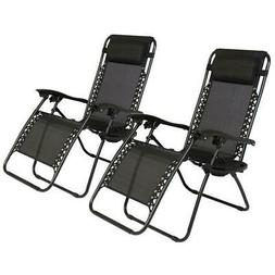 2 Folding Zero Gravity Lounge Chairs+Utility Tray Outdoor Be