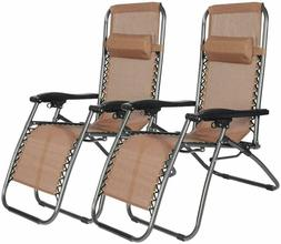 2 Pack Patio Folding Reciner Chairs - Outdoor Beach Pool Bac
