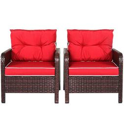 2 PCS Outdoor Patio Rattan Wicker Chair Sofa With Red Cushio