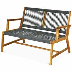 2-Person Outdoor Acacia Wood Bench Patio Loveseat Rope Bench