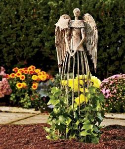 26''H Antiqued Metal Garden Angel Lawn Yard Patio Statue Out