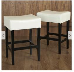 27 Inch Backless Ivory Leather CounterTop Stools Set 2 Chris