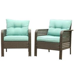 2PC Patio Rattan Sofa Set Wicker Garden Furniture Outdoor Se