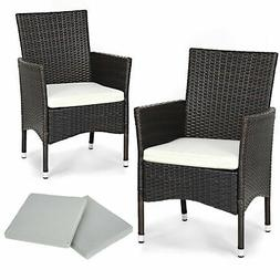 2PC Patio Rattan Wicker Dining Chairs Set Mixbrown With 2 Se