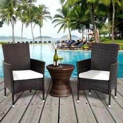 2PCS/Set Garden Patio Rattan Wicker Dining Chairs Set with 2