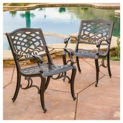 Sarasota 2pk Cast Aluminum Patio Dining Chairs - Christopher