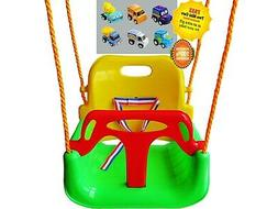 3-in-1 Green Chair Kid Tree Hanging Swing for Garden Patio X