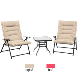3 pc folding chair set adjustable reclining