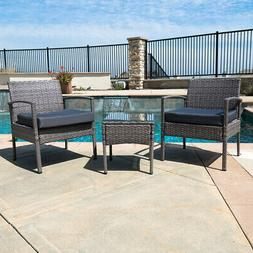 3 PCS Outdoor Rattan Wicker Patio Chat Chairs & Table Furnit