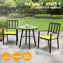 3 Pcs Patio Furniture Set Metal Bistro Table with 2 Chairs M