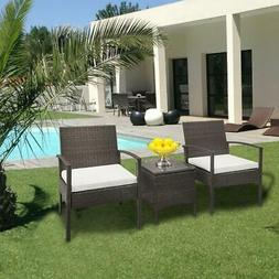3 pcs Rattan Wicker Bistro Sofa Set Coffee Table Chair Patio