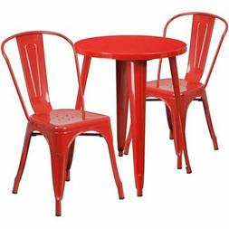 """Bowery Hill 3 Piece 24"""" Round Metal Patio Bistro Set in Red"""