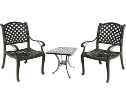 3 piece bistro patio set table and chairs Nassau outdoor cas