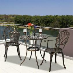 3 piece patio cast aluminum bistro set