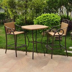 3-Piece Tan Metal Frame Bar Height Patio Set Chairs and Tabl