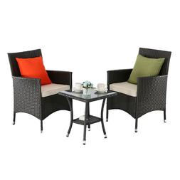 HTTH 3 Pieces Patio Bistro Furniture Sets PE Rattan with Cus