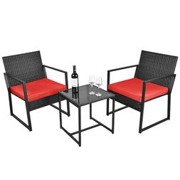 3 Pieces Patio Wicker Conversation Sets Bistro Set Rattan Ch