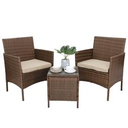 3 Pieces PE Rattan Wicker Chairs with Table Outdoor Patio Po