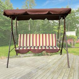 Outdoor 3 seat Canopy Swing Chair Patio Backyard Seat Beach