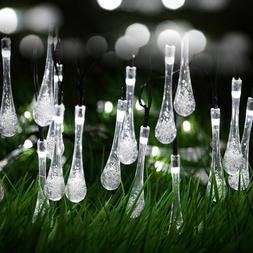 White 30-Count Solar Raindrop String Lights Porch Patio Tree