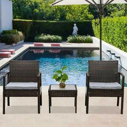 3PC Bistro Set Sectional Patio Furniture Set Brown Rattan Wi