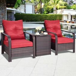 3PCS Outdoor Patio Bistro Rattan Wicker Storage Table Chair