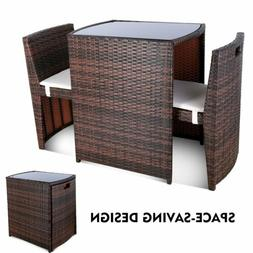 3PCS Outdoor Patio Wicker Bistro Set Furniture Chair Table S