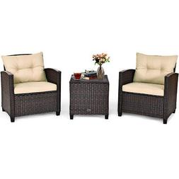 3PCS Patio Rattan Furniture Set Cushioned Conversation Set S