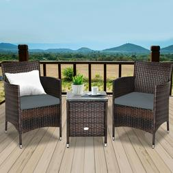 Gymax 3Pcs Patio Rattan Furniture Set Outdoor W/ Cushioned C