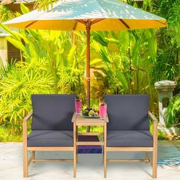 3PCS Patio Table Chairs Set Solid Wood Garden Furniture Coff