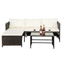 3PCS Rattan Patio Furniture Set Garden Sofa Table Set /w Cus