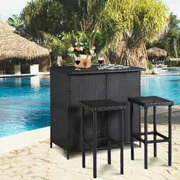 GOPLUS 3PCS Rattan Wicker Bar Set Patio Outdoor Table & 2 St