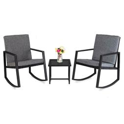 3pcs Rocking Chairs Set Outdoor Patio Glider Chair with Glas