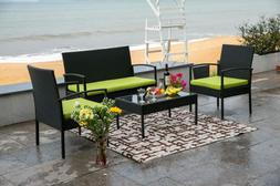 4 PCS Outdoor Patio PE Rattan Wicker Table Set Sofa Furnitur