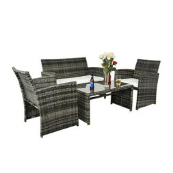 4 PCS Outdoor Patio Sofa Rattan Wicker Sectional Furniture S