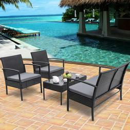 4 PCS Patio Rattan Wicker Furniture Set Sofa W/ Cushions Tab