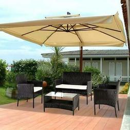 4 Pcs Wicker Patio Cushioned Outdoor Chair and Table Furnitu