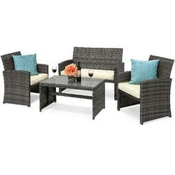Best Choice Products 4-Piece Wicker Patio Conversation Furni