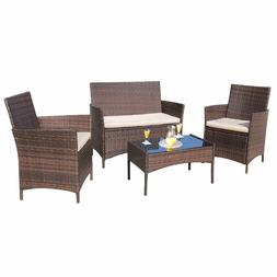Homall 4 Pieces Outdoor Patio Furniture Sets Rattan Chair Wi