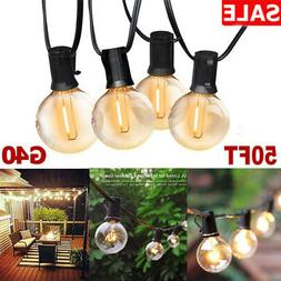 50FT G40 Globe Bulbs Hanging String Lights Patio Backyard  W