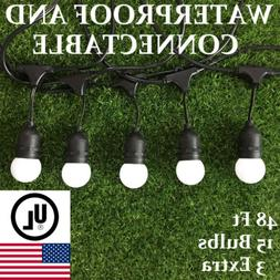 48ft Outdoor Patio String Lights Shatterproof Globe LED Bulb