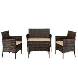 4PC Outdoor Patio Lawn Sofa Set Rattan Wicker Furniture Tabl