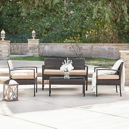 4pc Outdoor Wicker Patio Set Sectional Cushioned Furniture R