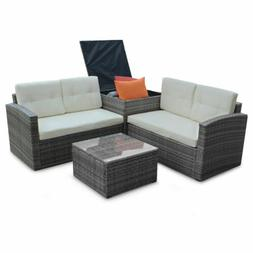 4PC Patio Sofa rattan Wicker Furniture Set Outdoor Loveseat