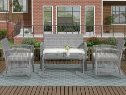 4pcs Outdoor Furniture Rattan Chair&Table Patio Set Outdoor