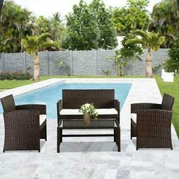 4PCS Outdoor Wicker Furniture Patio Sofa Set Garden Rattan S